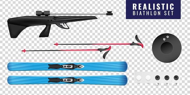 L'icona orizzontale trasparente colorata realistica di biathlon ha messo con la pistola e l'obiettivo di sci Vettore gratuito