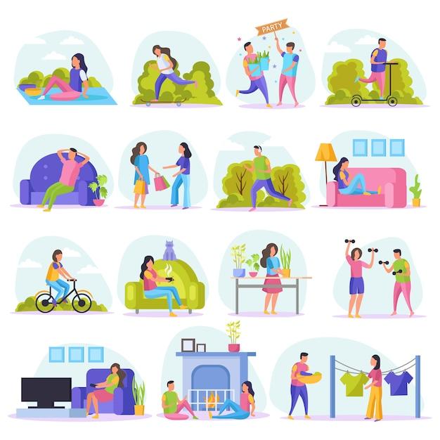 L'icona piana della gente pigra di fine settimana messa con la gente di riposo guarda la tv si siede sulla guida di acquisto dello strato nel parco e nell'altra illustrazione Vettore gratuito