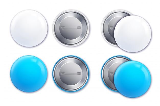 L'icona realistica blu-chiaro e bianca del distintivo del modello ha messo nell'illustrazione di forma rotonda Vettore gratuito