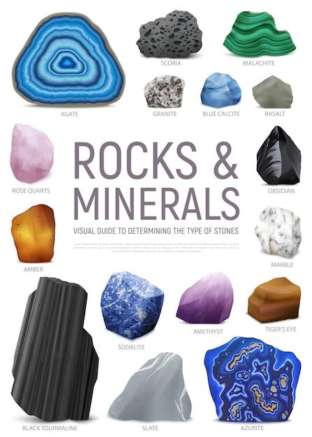 L'icona realistica della guida visiva minerale di pietra ha messo con la guida visiva della roccia e dei minerali per determinare il tipo di illustrazione del titolo di pietre Vettore gratuito