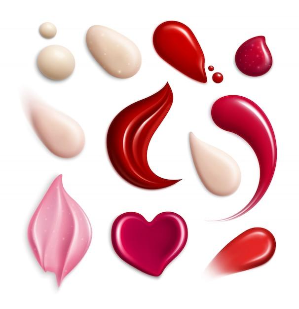 L'icona realistica delle sbavature della crema cosmetica dei lipgloss del fondamento ha messo con l'illustrazione differente di forme e di toni del campione Vettore gratuito
