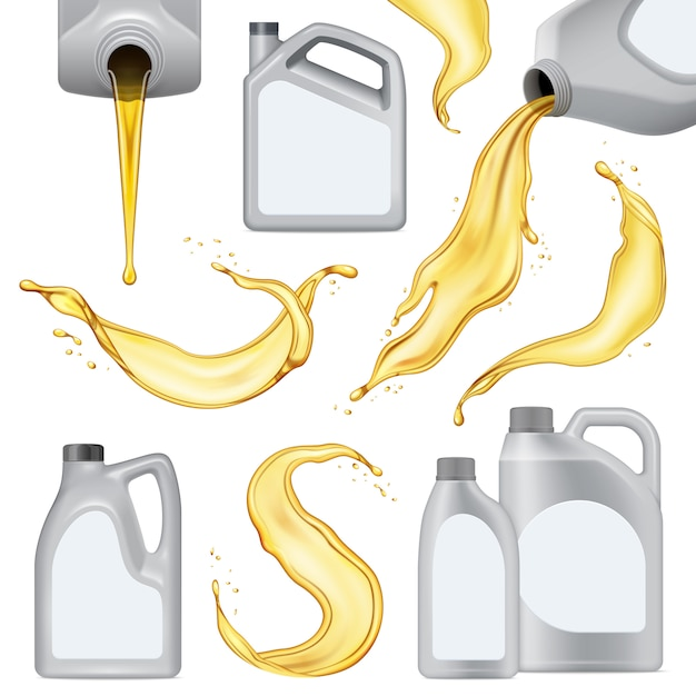 L'icona realistica isolata dell'olio per motori ha messo con la bottiglia di plastica bianca con liquido giallo Vettore gratuito