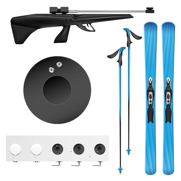 L'icona realistica isolata e colorata di biathlon ha messo con gli strumenti e le attrezzature del biathlonist Vettore gratuito