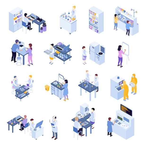 L'icona scientifica isometrica colorata del laboratorio ha messo con i lavoratori del laboratorio sui loro posti di lavoro Vettore gratuito