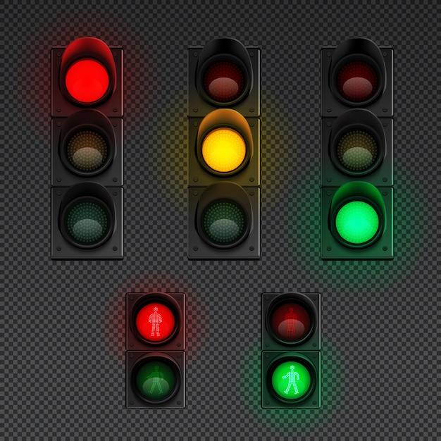 L'icona trasparente realistica dei semafori ha messo con il semaforo per i pedoni e l'illustrazione differente altri Vettore gratuito