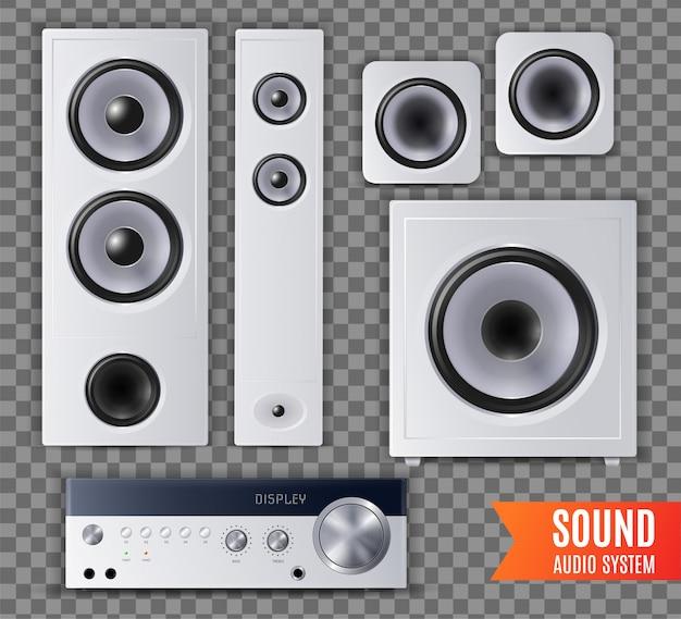 L'icona trasparente realistica del sistema audio sano ha messo con l'illustrazione differente di dimensione e di forma Vettore gratuito