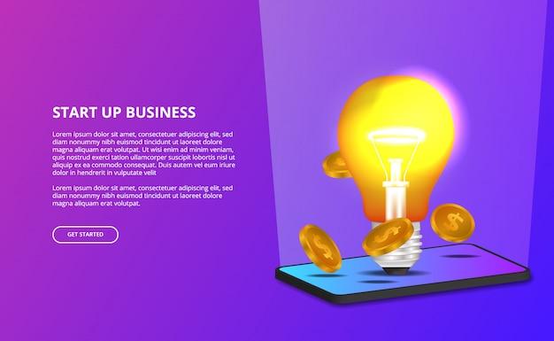 L'idea della luce della lampada 3d creativa per inizia sull'affare e l'illustrazione dello smartphone 3d Vettore Premium