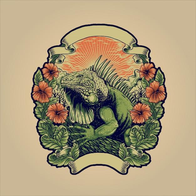 L'iguana verde Vettore Premium