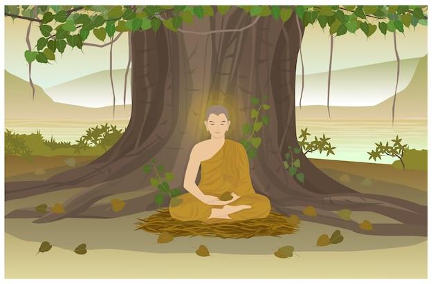 L'illuminazione del buddha sotto l'albero della bodhi presente è il giorno visakha puja. Vettore Premium