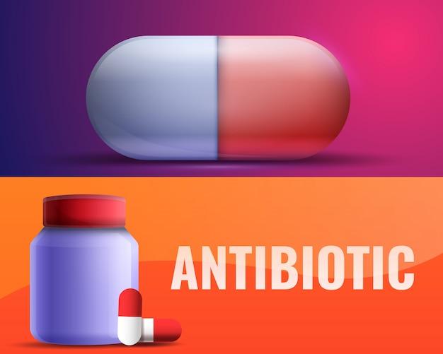 L'illustrazione antibiotica ha messo su stile del fumetto Vettore Premium