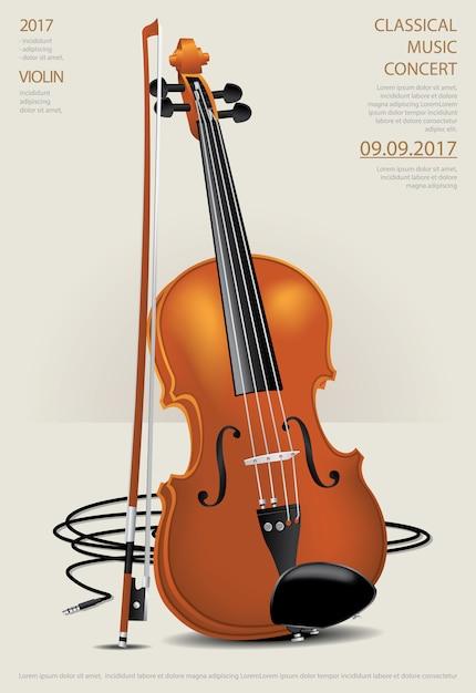 L'illustrazione classica di vettore del violino di concetto di musica Vettore Premium