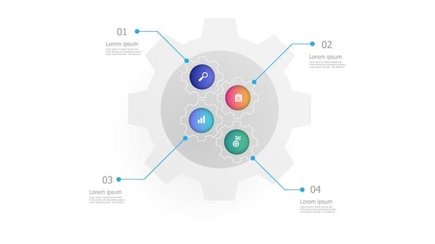 L'illustrazione degli ingranaggi del dente spinge il modello verticale di infographics 4 punti Vettore Premium