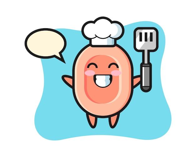 L'illustrazione del personaggio del sapone come chef sta cucinando, stile carino per maglietta, adesivo, elemento logo Vettore Premium