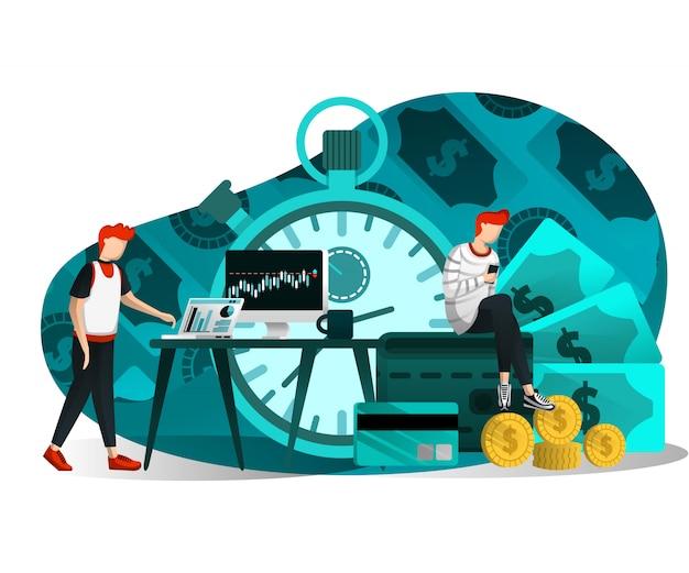 L'illustrazione del tempo è denaro Vettore Premium