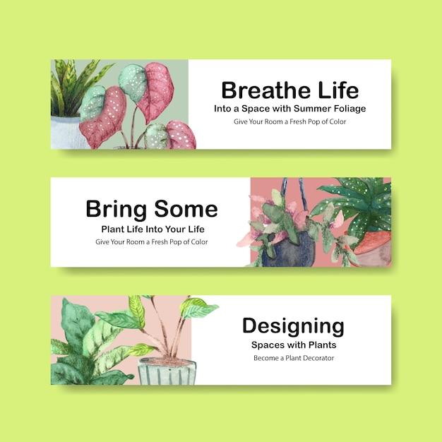 L'illustrazione dell'acquerello dell'opuscolo, dell'opuscolo, di pubblicità e dell'opuscolo di progettazione del modello dell'insegna delle piante dell'estate Vettore gratuito