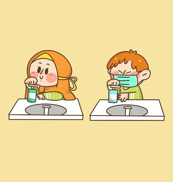 L'illustrazione dell'autoadesivo di scarabocchio delle mani di lavaggio del ragazzo e della ragazza dei bambini Vettore Premium