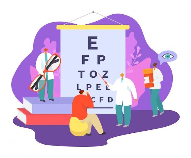 L'illustrazione dell'illustrazione della medicina di oftalmologia, la gente minuscola dei pazienti del fumetto visita il carattere di medico dell'oftalmologo, controlla la salute dell'occhio Vettore Premium