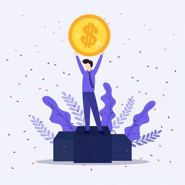 L'illustrazione dell'uomo d'affari felice celebra il successo che sta sotto i soldi delle banconote della pioggia dei soldi che cadono sul fondo blu. Vettore Premium