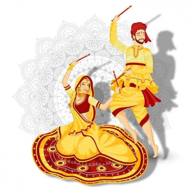 L'illustrazione delle coppie nel ballo di dandiya posa sul fondo floreale della mandala bianca. Vettore Premium