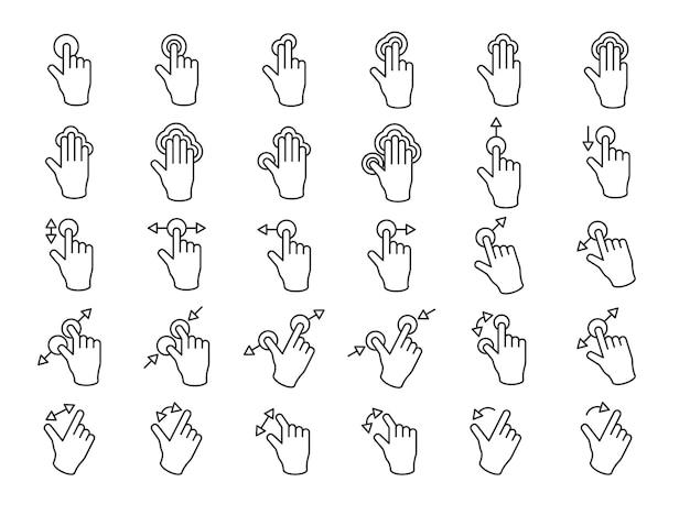 L'illustrazione delle mani dello schermo di tocco gesture nella linea sottile Vettore gratuito
