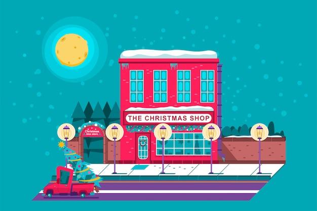 L'illustrazione di festa del fumetto del negozio dell'albero di natale e del negozio di fattoria. Vettore Premium