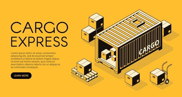 L'illustrazione di logistica del contenitore del carico del magazzino con le scatole del pacchetto scarica sul pallet Vettore gratuito