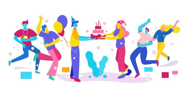 L'illustrazione di persone celebra i compleanni e dà una sorpresa, colorata. Vettore Premium