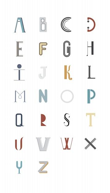 L'illustrazione di tipografia di alfabeto inglese Vettore gratuito