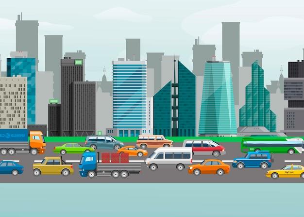 L'illustrazione di vettore della via del traffico cittadino delle automobili urbane trasporta sulla corsia di traffico. edifici urbani e strade design per il car sharing o la navigazione in auto. Vettore Premium