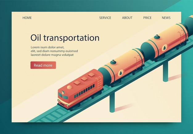 L'illustrazione di vettore è trasporto del petrolio scritto. Vettore Premium