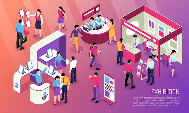 L'illustrazione orizzontale di mostra con i visitatori che esaminano i prodotti pubblicizzati e i personaggi del consulente in fiera si distingue isometrica Vettore gratuito