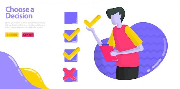 L'illustrazione sceglie una decisione. gli uomini stanno compilando sondaggi ed esami. specifica l'opzione check o cross. Vettore Premium