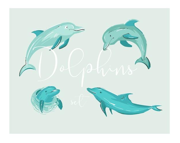 L'illustrazione tropicale dei delfini del fumetto disegnato a mano ha messo nei colori blu. Vettore Premium
