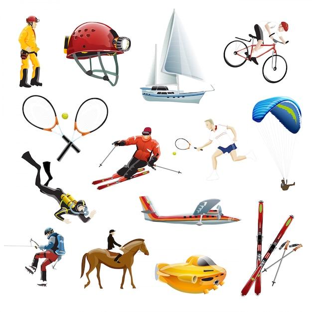 L'illustrazione vettoriale delle icone di sport estremi Vettore Premium