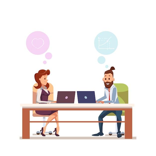 L'impiegato di concetto delle coppie si siede sul posto di lavoro con il computer portatile Vettore Premium