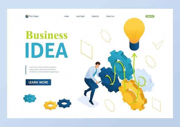 L'imprenditore sviluppa un'idea imprenditoriale attorciglia gli ingranaggi. Vettore Premium