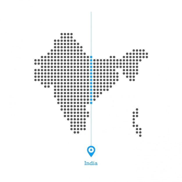 L'india ha punteggiato il vettore desgin della mappa Vettore Premium