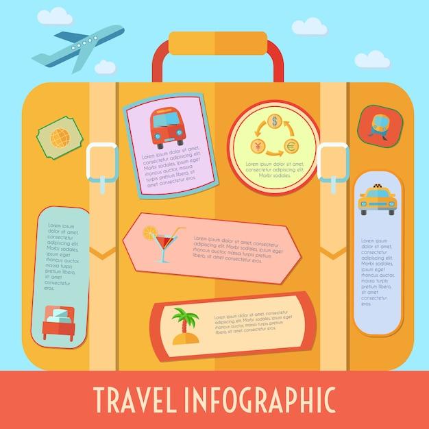 L'infographics di viaggio del mondo ha messo con i simboli di vacanza e di turismo vector l'illustrazione Vettore gratuito