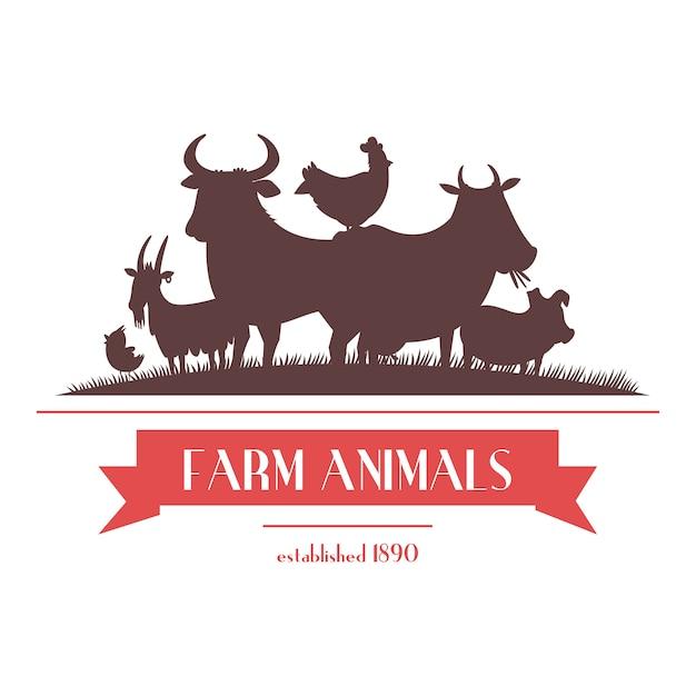 L'insegna del negozio dell'azienda agricola o etichetta la progettazione bicolore con gli animali del bestiame e le siluette dei polli sottraggono l'illustrazione di vettore Vettore gratuito