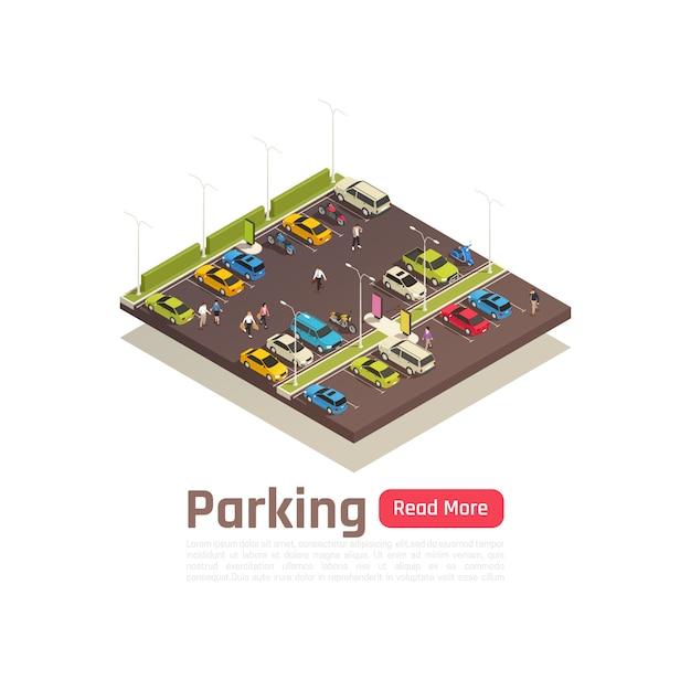 L'insegna isometrica e isolata della composizione nella città con la descrizione di parcheggio e ha letto più illustrazione di vettore del bottone Vettore gratuito