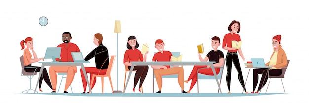 L'insegna orizzontale piana delle biblioteche con gli ospiti che si siedono nella sala di lettura con le compresse dei computer portatili delle riviste dei libri vector l'illustrazione Vettore gratuito