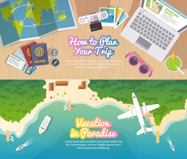 L'insegna piana di vettore variopinto di viaggio ha messo per la vostra azienda, i siti web ecc. Vettore Premium