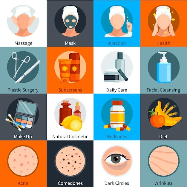 L'insieme colorato piano di cura della pelle degli elementi di trattamento della pelle naturali e compone i simboli dei cosmetici ha isolato l'illustrazione di vettore Vettore gratuito