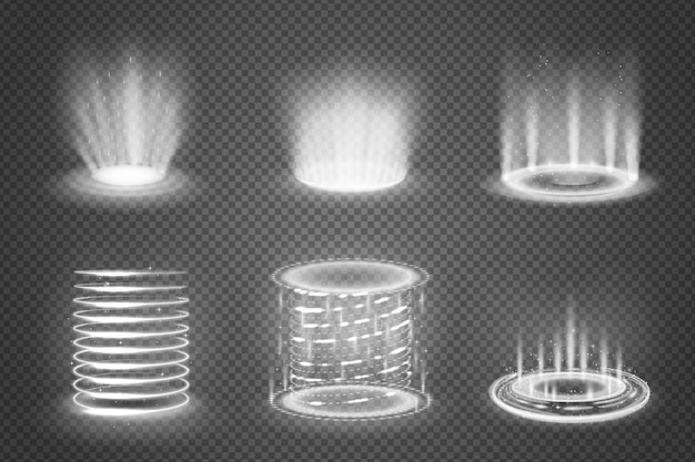 L'insieme dei portali magici monocromatici realistici con gli effetti della luce su fondo trasparente ha isolato l'illustrazione Vettore gratuito
