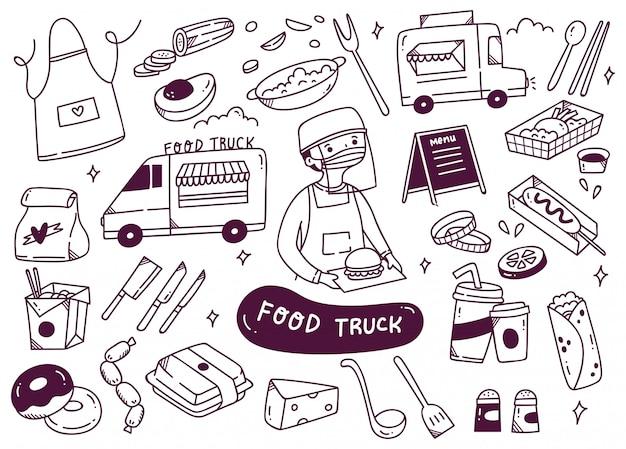 L'insieme del camion dell'alimento scarabocchia l'illustrazione Vettore Premium