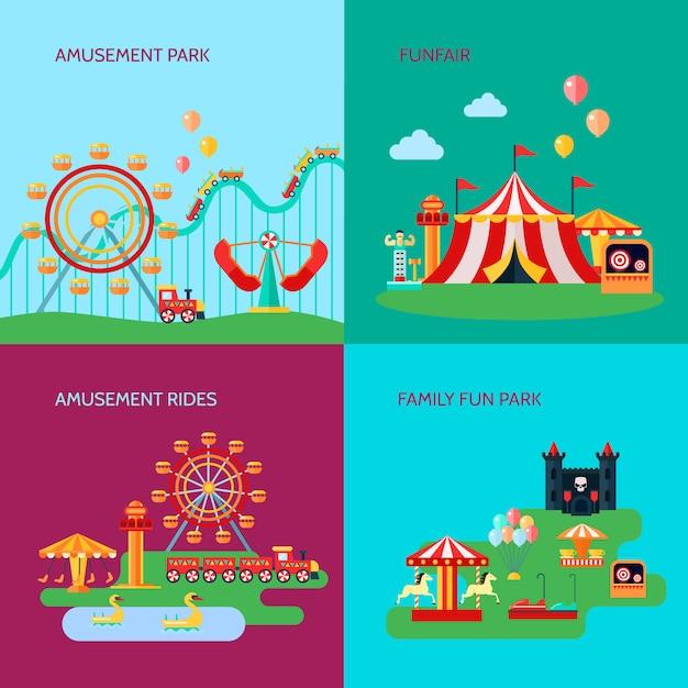 L'insieme del fondo di concetto del parco di divertimenti con divertimento guida l'illustrazione di vettore isolata piano di simboli Vettore gratuito