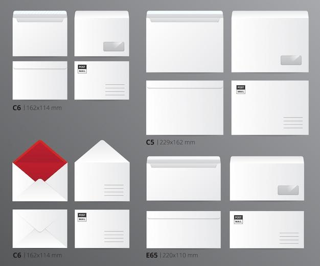 L'insieme del modello dell'ufficio di carta delle buste della posta realistica ha ordinato per dimensione della lettera con l'illustrazione appropriata di vettore di didascalie del testo Vettore gratuito