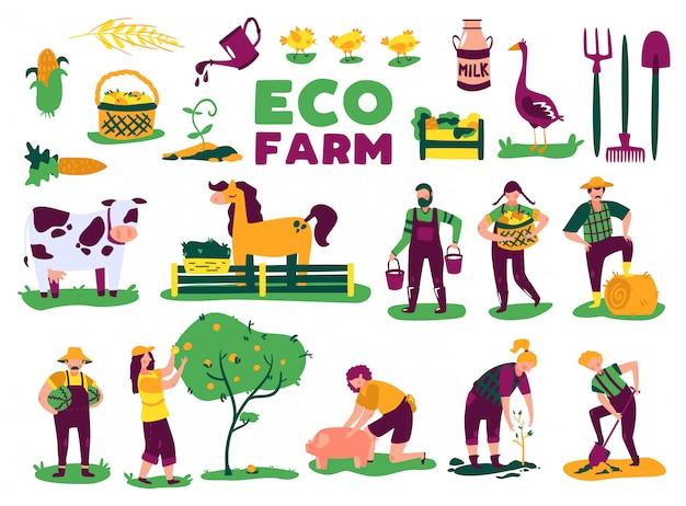 L'insieme del raccolto di agricoltura di eco con le immagini isolate delle piante di animali da allevamento e i caratteri di scarabocchio della gente vector l'illustrazione Vettore gratuito