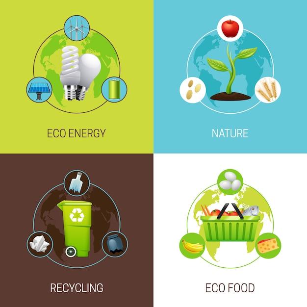 L'insieme delle icone con differenti tipi di illustrazioni di concetto dell'ecologia vector l'illustrazione Vettore gratuito