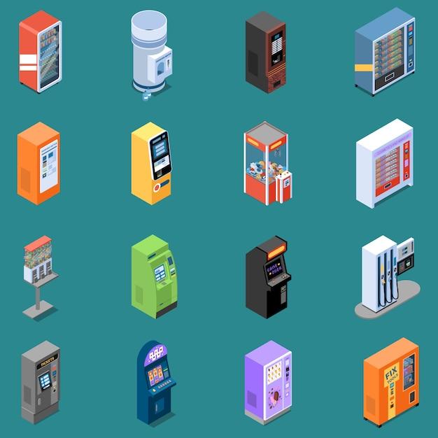 L'insieme delle icone isometriche con i vari distributori automatici ha isolato l'illustrazione di vettore Vettore gratuito